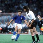 1990 World Cup Finals, Rome, Italy, 9th June, 1990, Italy 1 v Austria 0, Italy's Riccardo Ferri shoots at goal past Austrian defenders