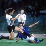 1990 World Cup Finals, Rome, Italy, 9th June, 1990, Italy 1 v Austria 0, Italy's Riccardo Ferri challenges Austria's Anton Polster for the ball