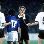 1990 World Cup Finals, Rome, Italy, 9th June, 1990, Italy 1 v Austria 0, Referee Jose Ramiz Wright of Brazil calms down players from both teams as tension rises