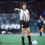 1990 World Cup Finals, Rome, Italy, 9th June, 1990, Italy 1 v Austria 0, Austria's Anton Polster directs a free kick