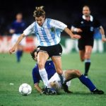 1990 World Cup Semi Final. Naples, Italy. 3rd July, 1990. Italy 1 v Argentina 1 (Argentina win 3-2 on penalties). Argentina's Claudio Caniggia on the attack.