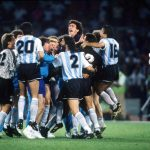 1990 World Cup Semi Final. Naples, Italy. 3rd July, 1990. Italy 1 v Argentina 1 (Argentina win 3-2 on penalties). Argentine players celebrate reaching the World Cup Final after their win in the penalty shoot out.