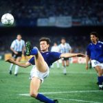 1990 World Cup Semi Final. Naples, Italy. 3rd July, 1990. Italy 1 v Argentina 1 (Argentina win 3-2 on penalties). Italy's Aldo Serena tries to control the ball.