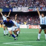 1990 World Cup Semi Final. Naples, Italy. 3rd July, 1990. Italy 1 v Argentina 1 (Argentina win 3-2 on penalties). Italy's Gianluca Vialli races away to celebrate after Salvatore Schillaci scored the first goal as Argentine players protest.