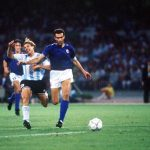 1990 World Cup Semi Final. Naples, Italy. 3rd July, 1990. Italy 1 v Argentina 1 (Argentina win 3-2 on penalties). Argentina's Claudio Caniggia is fouled by Italy's Giuseppe Bergomi.