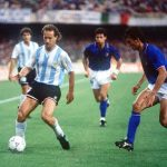 1990 World Cup Semi Final. Naples, Italy. 3rd July, 1990. Italy 1 v Argentina 1 (Argentina win 3-2 on penalties). Argentina's Gabriel Calderon on the ball watched by Italy's Paolo Maldini.