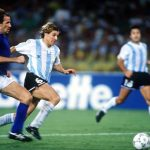 1990 World Cup Semi Final. Naples, Italy. 3rd July, 1990. Italy 1 v Argentina 1 (Argentina win 3-2 on penalties). Italy's Franco Baresi races for the ball with Argentina's Claudio Caniggia.