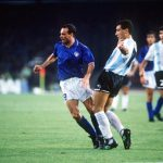 1990 World Cup Semi Final. Naples, Italy. 3rd July, 1990. Italy 1 v Argentina 1 (Argentina win 3-2 on penalties). Italy's Salvatore Schillaci is challenged for the ball by Argentina's Jose Serrizuela.