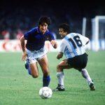 1990 World Cup Semi Final. Naples, Italy. 3rd July, 1990. Italy 1 v Argentina 1 (Argentina win 3-2 on penalties). Italy's Fernando De Napoli takes the ball past Argentina's Julio Olarticoechea.