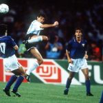 1990 World Cup Semi Final. Naples, Italy. 3rd July, 1990. Argentina 1 v Italy 1 (Argentina win 3-2 on penalties). Argentina's Jorge Burruchaga battles for the ball with Italy's Roberto Donadoni.