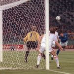 Italian forward Salvatore Schillaci (R) scores his