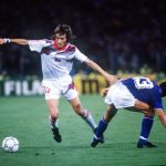 1990 World Cup Finals, Rome, Italy, 19th June, 1990, Italy 2 v Czechoslovakia 0, Czechoslovakia's Ivo Knoflicek takes the ball past Italy's Giuseppe Giannini