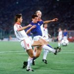 1990 World Cup Finals, Rome, Italy, 19th June, 1990, Italy 2 v Czechoslovakia 0, Czechoslovakia's Jozef Chovanec battles for the ball with Italy's Nicola Berti