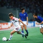 1990 World Cup Finals, Rome, Italy, 19th June, 1990, Italy 2 v Czechoslovakia 0, Czechoslovakia's Thomas Skuhravy takes the ball past Italy's Nicola Berti