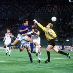 1990 World Cup Finals, Rome, Italy, 19th June, 1990, Italy 2 v Czechoslovakia 0 Italy's Nicola Berti heads a goal past Czechoslovakian goalkeeoer Jan Stejskal but the goal was disallowed for hand-ball