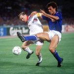 1990 World Cup Finals, Rome, Italy, 19th June, 1990, Italy 2 v Czechoslovakia 0, Czechoslovakia's Ivan Hasek is put under pressure from Italy's Paolo Maldini