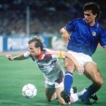 1990 World Cup Finals, Rome, Italy, 19th June, 1990, Italy 2 v Czechoslovakia 0 Italy's Paolo Maldini puts Czecholovakia's Ivan Hasek under pressure