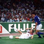 1990 World Cup Finals, Rome, Italy, 19th June, 1990, Italy 2 v Czechoslovakia 0, Italy's Paolo Maldini puts Czecholovakia's Ivan Hasek under pressure as the linesman looks on
