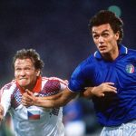 1990 World Cup Finals, Rome, Italy, 19th June, 1990, Italy 2 v Czechoslovakia 0, Italy's Paolo Maldini with Czechoslovakia's Ivan Hasek