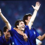 1990 World Cup Quarter Final. Rome, Italy. 30th June, 1990. Italy 1 v Republic Of Ireland 0. italy's Luigi De Agostini celebrates victory.
