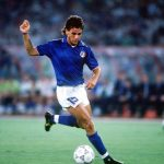 1990 World Cup Quarter Final. Rome, Italy. 30th June, 1990. Italy 1 v Republic Of Ireland 0. Italy's Roberto Baggio on the ball.