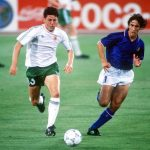 1990 World Cup Quarter Final. Rome, Italy. 30th June, 1990. Italy 1 v Republic Of Ireland 0. Republic Of Ireland's Andy Townsend races for the ball with Italy's Fernando De Napoli