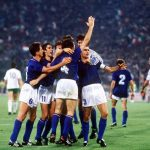 1990 World Cup Quarter Final. Rome, Italy. 30th June, 1990. Italy 1 v Republic Of Ireland 0. Italian players celebrate victory at the end of the match.