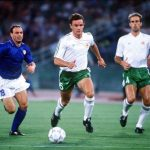 1990 World Cup Quarter Final. Rome, Italy. 30th June, 1990. Italy 1 v Republic Of Ireland 0. Republic Of Ireland's Kevin Moran races for the ball with Italy's Salvatore Schillaci.