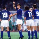 1990 World Cup Quarter Final. Rome, Italy. 30th June, 1990. Italy 1 v Republic Of Ireland 0. Italy's Fernando De Napoli arranges the defensive wall.
