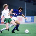 1990 World Cup Quarter Final. Rome, Italy. 30th June, 1990. Italy 1 v Republic Of Ireland 0. Italy's Roberto Donadoni is challenged for the ball by Republic of Ireland's Steve Staunton.