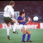 1990 World Cup Quarter Final. Rome, Italy. 30th June, 1990. Italy 1 v Republic Of Ireland 0. Republic of Ireland's Steve Staunton battles for the ball with Italy's Fernando De Napoli.