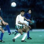 1990 World Cup Quarter Final. Rome, Italy. 30th June, 1990. Italy 1 v Republic Of Ireland 0. Republic Of Ireland's Paul McGrath battles for the ball with Italy's Ricardo Ferri.