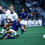 1990 World Cup Third Place Play Off. Bari, Italy. 7th July, 1990. Italy 2 v England 1. England's Steve McMahon is tackled by Italy's Carlo Ancelotti.