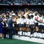 1990 World Cup Third Place Play Off. Bari, Italy. 7th July, 1990. Italy 2 v England 1. FIFA President Joao Havelange presents the England squad with their medals as they stand on the podium after the match.