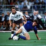 1990 World Cup Third Place Play Off. Bari, Italy. 7th July, 1990. Italy 2 v England 1. Italy's Nicola Berti is tackled by England's David Platt.