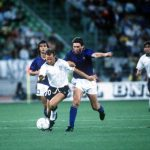 1990 World Cup Third Place Play Off. Bari, Italy. 7th July, 1990. Italy 2 v England 1. England's Trevor Steven moves away from Italy's Carlo Ancelotti with the ball.