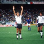 1990 World Cup Third Place Play Off. Bari, Italy. 7th July, 1990. Italy 2 v England 1. England's David Platt celebrates his goal.