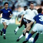 1990 World Cup Third Place Play Off. Bari, Italy. 7th July, 1990. Italy 2 v England 1. England's David Platt is challenged for the ball by Italian defenders.