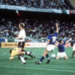 1990 World Cup Third Place Play Off. Bari, Italy. 7th July, 1990. Italy 2 v England 1. Italy's Salvatore Schillaci appeals for a penalty after being fouled by Paul Parker. He scored from the spot to put Italy 1-0 in the lead and made him top scorer of the