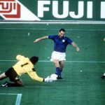 1990 World Cup Third Place Play Off. Bari, Italy. 7th July, 1990. Italy 2 v England 1. Italy's Salvatore Schillaci takes the ball past England goalkeeper Peter Shilton on his way to setting up the first goal.