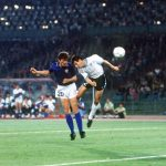 1990 World Cup Finals. Second Phase. Rome, Italy. 25th June, 1990. Italy 2 v Uruguay 0. Italy's Aldo Serena beats Uruguay's Nelson Gutierrez in the air to head the second goal.