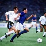1990 World Cup Finals. Second Phase. Rome, Italy. 25th June, 1990. Italy 2 v Uruguay 0. Italy's Salvatore Schillaci moves past Uruguay's Nelson Gutierrez with the ball.
