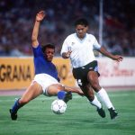 1990 World Cup Finals. Second Phase. Rome, Italy. 25th June, 1990. Italy 2 v Uruguay 0. Uruguay's Jose Pintos battles for the ball with Italy's Paolo Maldini.