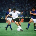 1990 World Cup Finals. Second Phase. Rome, Italy. 25th June, 1990. Italy 2 v Uruguay 0. Uruguay's Santaigo Ostolaza on the ball.