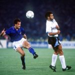1990 World Cup Finals. Second Phase. Rome, Italy. 25th June, 1990. Italy 2 v Uruguay 0. Italy's Luigi De Agostini takes a shot at goal.