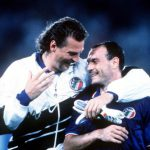 1990 World Cup Finals. Second Phase. Rome, Italy. 25th June, 1990. Italy 2 v Uruguay 0. Italy's Salvatore Schillaci celebrates with teammate Stefano Tacconi.