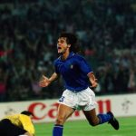 Giuseppe Giannini of Italy celebrates scoring the winning goal