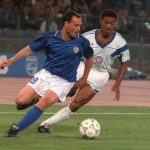 Italian forward Salvatore Schillaci (L) tries to c