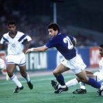 1990 World Cup Finals, Rome, Italy, 14th June, 1990, Italy 1 v USA 0, Italy's Gianluca Vialli moves forward with the ball