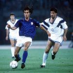 1990 World Cup Finals, Rome, Italy, 14th June, 1990, Italy 1 v USA 0, Italy's Giuseppe Giannini moves away from USA's Marcel Balboa